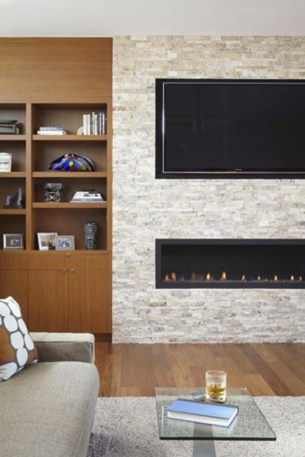 Modern Stone Fireplace Tv Built Ins Living Room Family Jpg